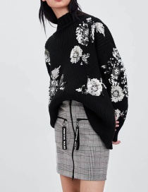 Fashion Black Heavy Industry Sequin Flower Pattern Sweater
