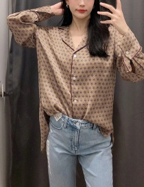 Fashion Color Single-breasted Printed Shirt With Irregular Front Short And Long Back