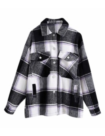 Fashion Black Woolen Plaid Loose Contrast Shirt Jacket