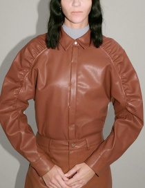 Fashion Brown Faux Leather Panel Solid Color Shirt