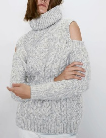 Fashion Gray Eight-strand Woven Off-shoulder High Neck Sweater