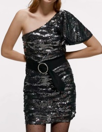 Fashion Black Sequin Asymmetrical One-shoulder Dress With Belt