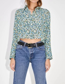 Fashion Color Floral Print Loose Shirt