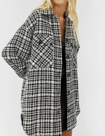 Fashion Black Check Loose Shirt Jacket