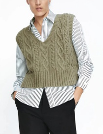 Fashion Dark Green Woven V-neck Diamond Knit Vest