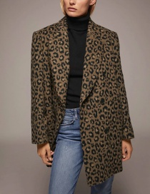 Fashion Coffee Color One-button Coat With Animal Markings