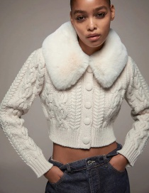 Fashion Creamy-white Faux Fur Stitching Twist Knit Jacket