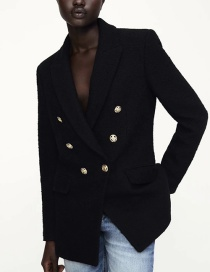 Fashion Black Textured Double-breasted Blazer