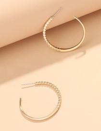 Fashion Small Bead Chain C-shaped Alloy Earrings