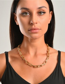 Fashion Golden Alloy Square Geometric Thick Chain Necklace