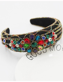 Fashion Color Mixing Wide-brimmed Headband With Jeweled Flower Sponge