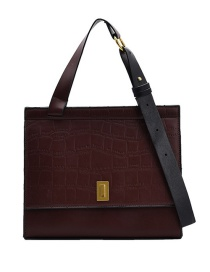 Fashion Coffee Color Large Capacity Stone Pattern One-shoulder Messenger Bag
