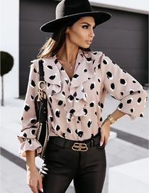 Fashion Beige V-neck Ruffled Button Long-sleeved Printed Shirt
