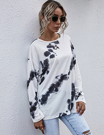 Fashion White Round Neck Long Sleeve Tie-dye T-shirt Loose Top