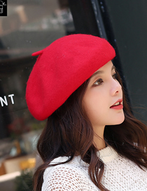 Fashion Red Wool Solid Color Beret