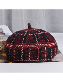 Fashion Wine Red Check Wool Check Beret
