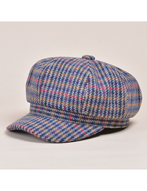 Fashion Colorful Houndstooth Stitching Woolen Octagonal Beret