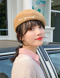 Fashion Khaki Wool Solid Color Embroidered Letter Beret
