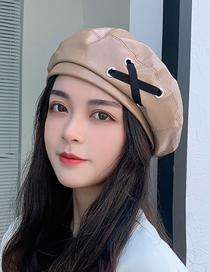 Fashion Khaki Pu Shiny Leather Tether Cross Beret