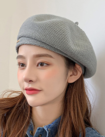 Fashion Red Knitted Solid Color Curled Three-bar Wool Hat