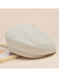 Fashion Beige Knitted Solid Color Metallic Beret