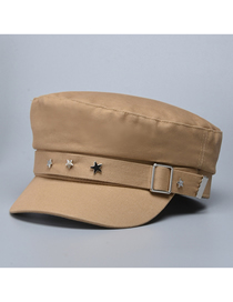 Fashion Khaki Metal Five-pointed Star Solid Color Stitching Navy Hat