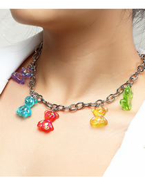 Fashion Color Mixing Resin Bear Pendant Alloy Necklace