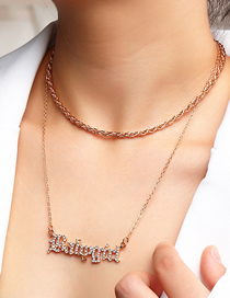 Fashion Diamond Gold Double Letter Alloy Multilayer Necklace