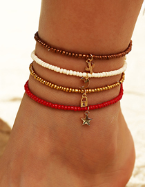 Fashion Red And White Lock Shaped Geometric Pendant Hand Woven Rice Bead Multilayer Anklet