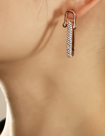 Fashion Gold Color U-shaped Stitching Pearl Alloy Earrings