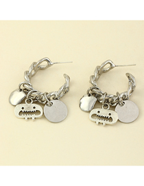 Fashion Silver Color Metal C-shaped Irregular Disc Earrings