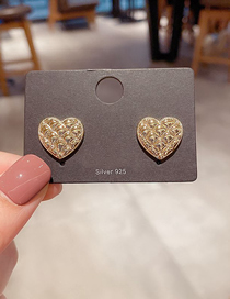 Fashion Gold Plated Color Heart Texture Real Gold Plated Earrings
