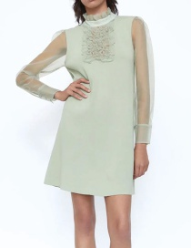 Fashion Green Organza Knitted Dress With Wood Ears