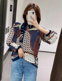 Fashion Color Bow Print Contrast Shirt