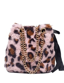 Fashion Pink Leopard Print Plush Chain Shoulder Crossbody Bag