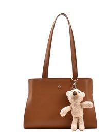 Fashion Coffee Color Bear Doll Solid Color One-shoulder Armpit Bag
