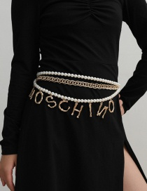 Fashion Gold Color Imitation Pearl Tassel Letter Waist Chain