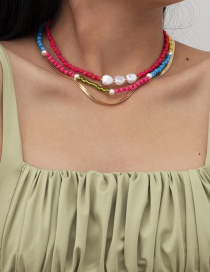 Fashion Gold Color Rice Beads Beaded Pearl Snake Bone Chain Alloy Multilayer Necklace