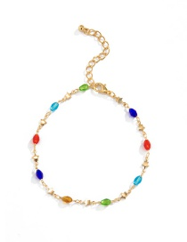 Fashion Gold Color Five-pointed Star Acrylic Beads Contrasting Color Geometric Copper Anklet