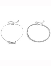 Fashion White K Claw Chain Drill Alphabet Alloy Anklet Set
