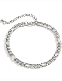 Fashion White K Geometric Thick Chain Hollow Anklet