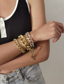 Fashion Gold Color Chain Diamond Lock Shaped Alloy Multilayer Bracelet