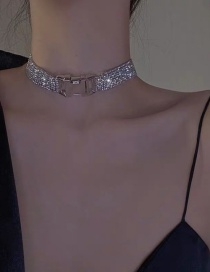 Fashion Silver Color Alloy Necklace With Diamond Wide Side Buckle