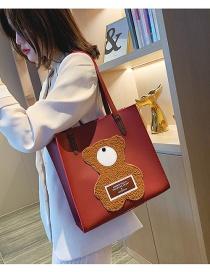 Fashion Red Large Capacity Bear Shoulder Bag