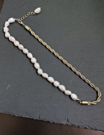 Fashion Golden Freshwater Pearl Twisted Twist Necklace