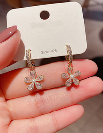 Fashion Gold Plated Color Pearl And Diamond Flower Earrings