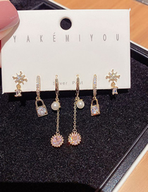 Fashion Gold Plated Color Diamond And Pearl Geometric Earring Set