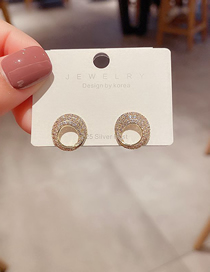 Fashion Gold Plated Color Irregular Micro-inlaid Zircon Spiral Small Circle Earrings