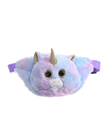 Fashion Light Purple Tie-dye Unicorn Plush One-shoulder Messenger Bag