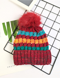 Fashion Red Wine Thicken Color Matching Wool Ball Knitted Hat